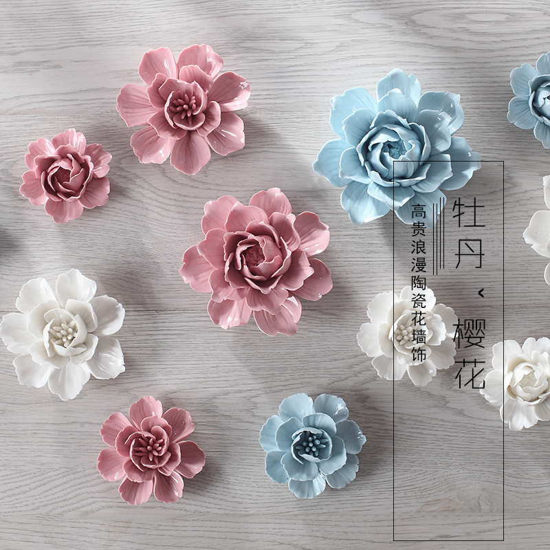 Porcelin Flower Wall Accent: Peony Cherry Decorative Wall Flower Dishes Porcelain
