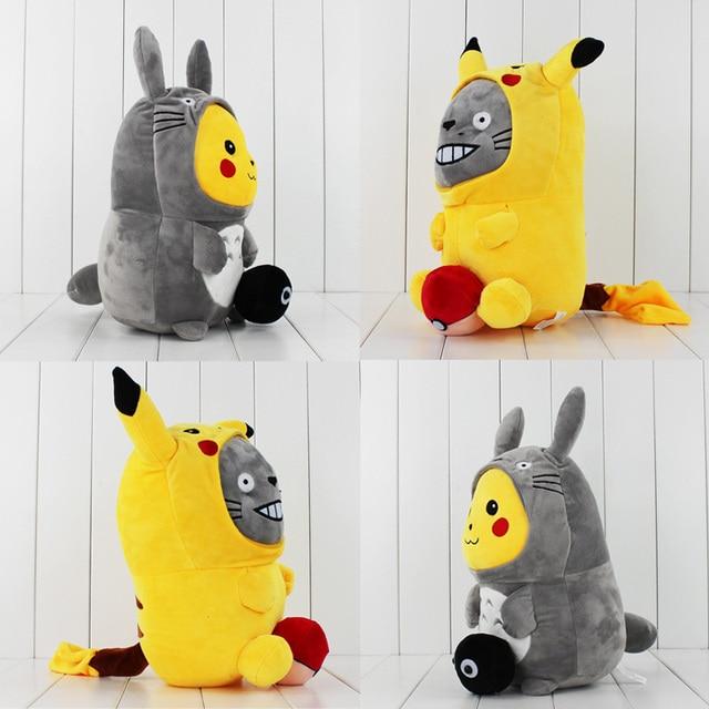 Anime Cartoon Cute Pikachu Cosplay Totoro & Totoro Cosplay Pikachu Plush Dolls Keychain 35cm Soft Stuffed Gift For Christmas
