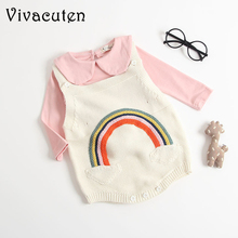 2018 Autumn Baby Girls Rompers with Rainbow Pattern Vest Kids Knitted Climbing Clothes 0-3 Years Children's Clothing Rompers