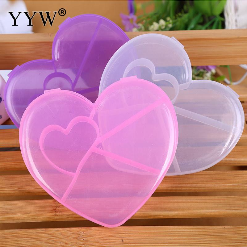 Plastic Adjustable Jewelry Heart Storage Box Case Craft Organizer Beads Container for Lady Girls Organizing Box
