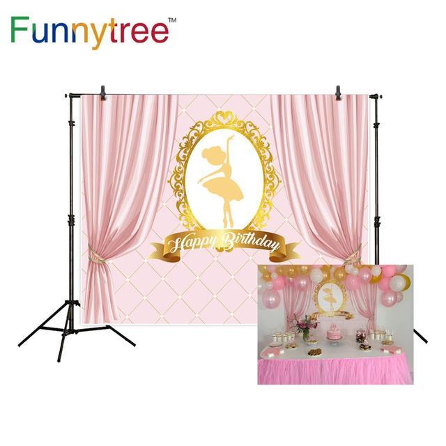 Funnytree عيد ميلاد خلفية راقصة الباليه فتاة الوردي خلفية الستائر ديكور حفلة كاميرا فوتوغرافية التصوير الفوتوغرافي المهنية