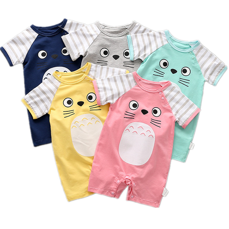 2018 Summer baby girls boys print cartoon rompers fashion childrens climbing clothes party infant soft cotton jumpers 18M06