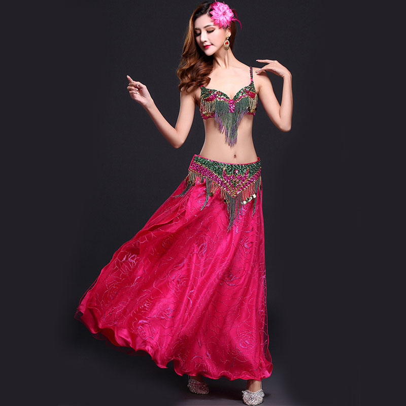Stage Performance Oriental Belly Dancing Clothes Belly Dance Costume Set 32-34b/c 36b/c 38b/c 3-piece Suit Bead Bra&belt & Skirt