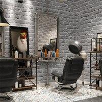 beibehang Retro white brick wallpaper antique gray brick clothing store industrial wind barber shop wallpaper papel de parede