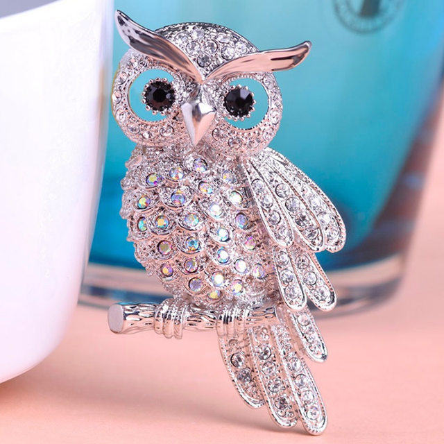 Blucome Vintage Owl Brooches For Men Jewelry Shiny Rhinestone Brooch Pin  Women Party Gifts Very Cool Christmas Brooch Bouquet