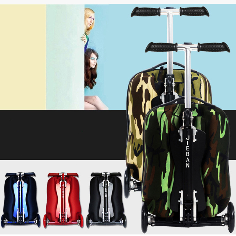 New Fashion EVA Scooter Rolling Luggage women Red Trolley 20' Boarding Box Men Carry On Travel Bag Student Suitcase Card Trunk 20 inch fashion rolling luggage women trolley men travel bag student boarding box children carry on luggage kids trunk suitcases