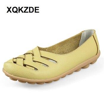 XQKZDE 2018 20 Colors Size 34-44 Genuine Leather Women Flats Mother Shoes Moccasins Soft Driving Shoes XXHAF11