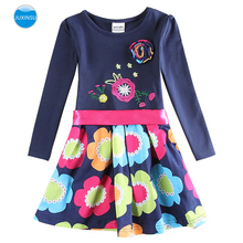 JUXINSU Cotton Toddler Flower Girl Long Sleeve Dress Autumn Winter Knee-Length Dresses Casual Clothing for Girls 1-8 Years
