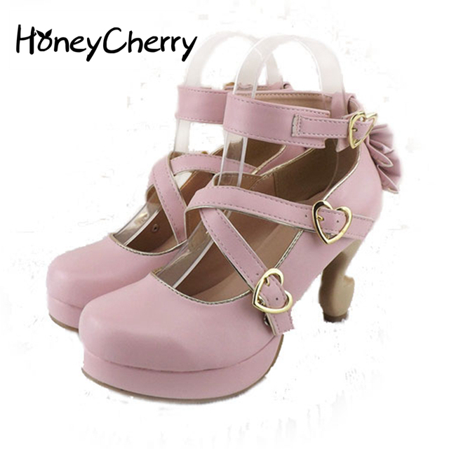 ccf709420c52 HoneyCherry 2016 New fashion women shoes lolita high heels desk leg bow  single shoes women s cute shoes women pumps