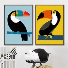 Абстрактный Тукан птица детская настенная живопись холст скандинавские