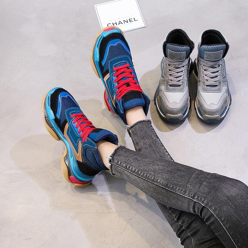 Véritable attaché Top Femelle Patchwork De gris Automne High En Casual Croix Mode Bleu Sneakers Cuir Chaussures Femmes Dame Chaussure Marque 2018 UFWvC0q