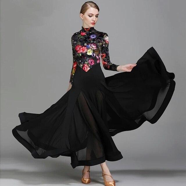 Big ala nero ballroom dance vestito da ballo per ballare il valzer tango flamenco  Spagnolo vestito 7c9af9516e0