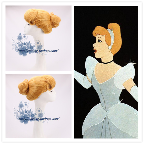 Halloween Women Fairy Cinderella Princess Wig Adult Stage Role Play Classic Yellow Updo Styled Cinderella Hair Wig Costumes