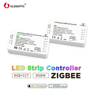 Умный домашний контроллер zigbee, совместимый с echo plus smartthings, с голосовым управлением, RGB + CCT, цветной DC12-24V, работает с zigbee hub