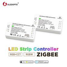 Home smart zigbee controller compatible with echo plus smartthings Voice Controlled RGB+CCT color DC12-24V work with zigbee hub