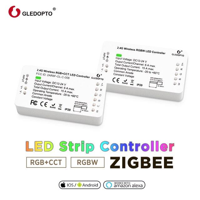 Thuis Slimme Zigbee Controller Compatibel Met Echo Plus Smartthings Voice Controlled Rgb + Cct Kleur DC12 24V Werken Met Zigbee Hub