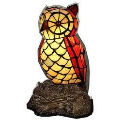 Ręcznie robiony  kreatywny szkło vintage ptak sowa lampa stołowa dla Foyer łóżko pokój Bar apartament szkło światło nocne H 25 cm 1087