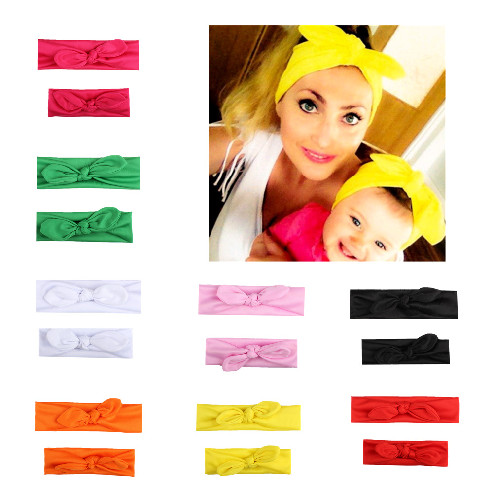 все цены на Pareo Headband 2 Pcs/Pair Kid Girls Mother Daughter Rabbit Ear Bow Headband Elastic Hair Band Pure Color
