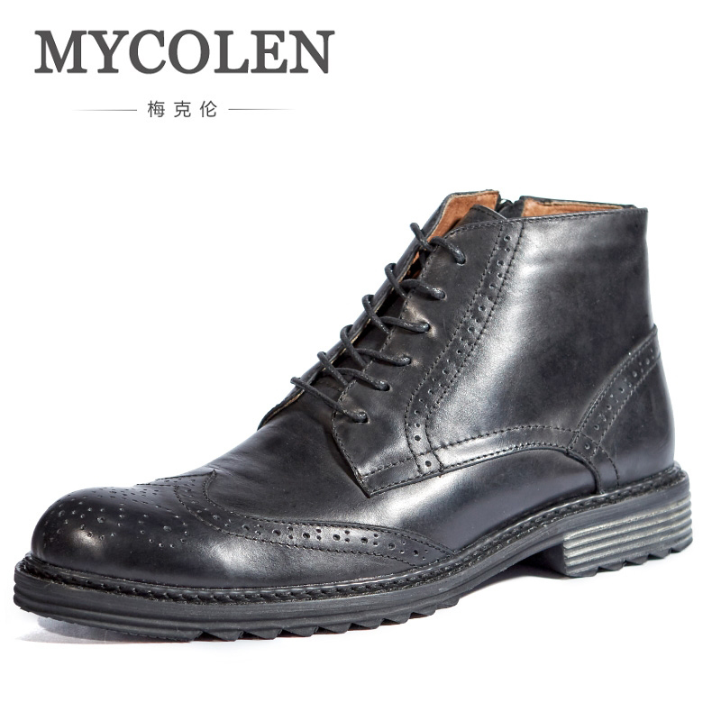 MYCOLEN Cow Leather Men Ankle Boots Vintage New Fashion Black British Style Martin Boots Fashion Brogue Casual Male Boots fashion style
