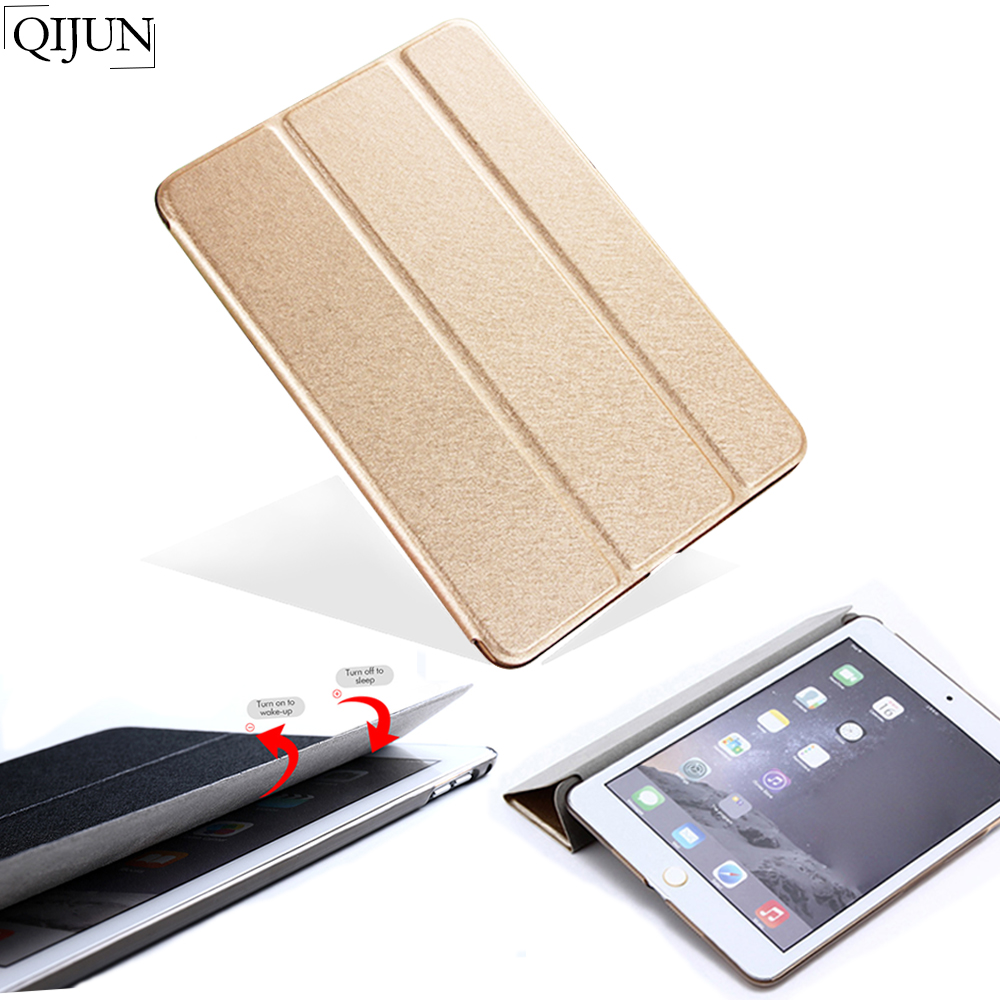 QIJUN For iPad 2 3 4 9.7'' Case Cover Smart PU Leather Folding Stand Back Fundas For iPad2 iPad3 iPad4 With Auto Sleep/Wake Up(China)