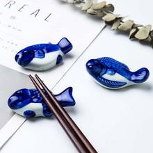 1PC Cute Fish Ceramic Holder Rack Chopstick Stand Spoon Fork Traditional Irregular Chopsticks Frame Kitche
