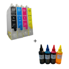 CTC  T0731 T0732 T0733 T0734 73N refillable ink cartridge for epson T40 TX550 TX600 TX219 printer + 400ml dye ink free shipping 73n t0731hn t0731hn 732n 733n 734n refillable ink cartridge for epson t30