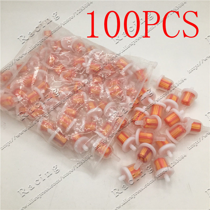 100pcs Universal Gas Oil Fuel Filter 50cc 70cc 90cc 110cc 150cc Atv Dirt bikes Go Karts, Scooters , Motorcycle
