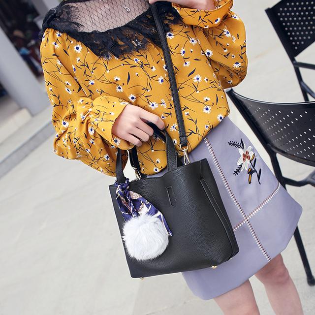 Bolish Litchi Pattern PU Leather Women Handbag Two Pieces Shoulder Bag Girls Small Casual Shopping Women Bag