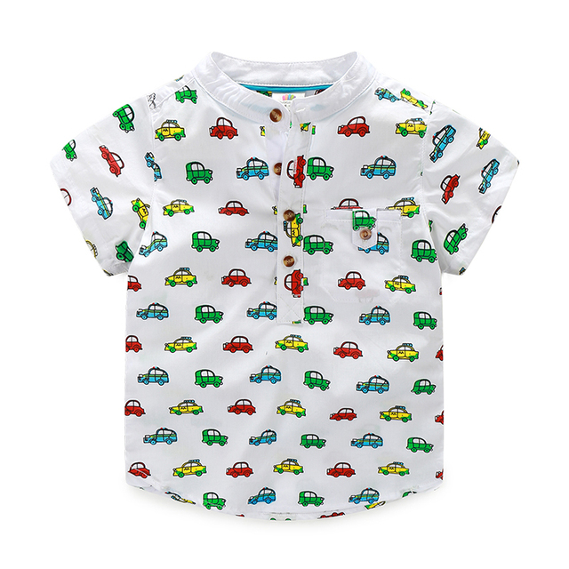 Crianças meninos dos desenhos animados carro meninos camiseta de manga curta pescoço verão Casual crianças roupas 2699Z