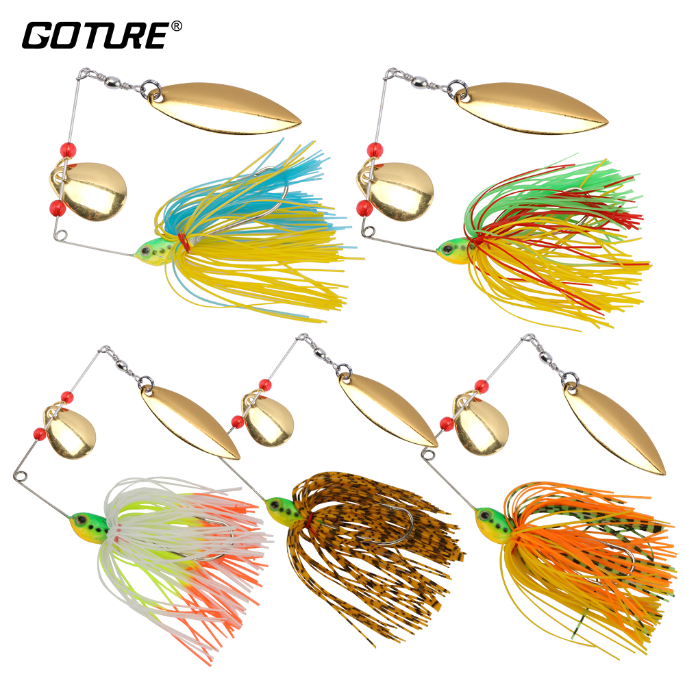 Goture 5pcs/lot 17.5g Spinnerbait Fishing Lure Bass Carp Spinner Bait Metal Blades Silicone Skirt Rig Pike Fishing Tackle 1pc spinner bait xxxxxxg metal lure hard fishing lures spinner lure spinnerbait pike swivel fish tackle wobbler submerged fluff
