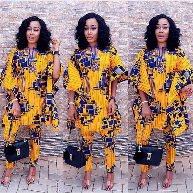 H&D 2020 African Suits For Women Clothes 100% Cotton Bazin Printed Dashiki Cloak Dashiki Tops Pant Suits For Lady Wax Clothes