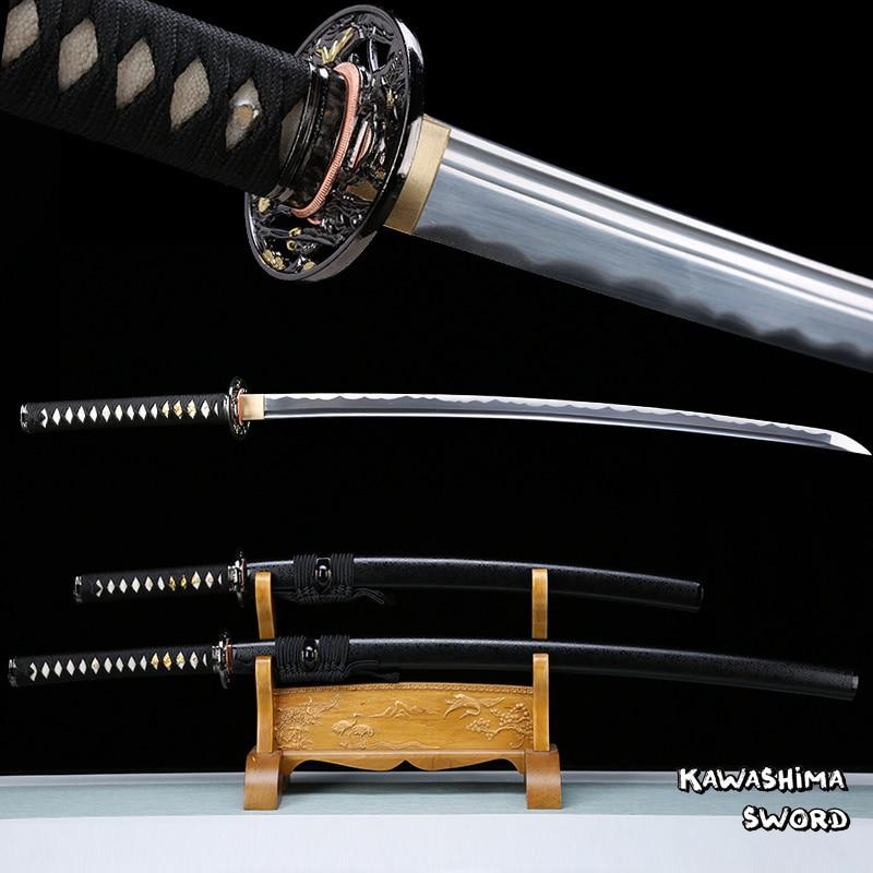 Hand Forged Japanese Katana / Wakizashi Real Steel Blade Full Tang Sheath Black Color Razor Sharpness For Cutting-Samurai Sword