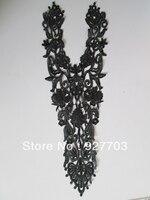 CM269 2 Pcs Black Venise Lace Sewing Neckline Costume Applique Craft 53 5cm X 27cm