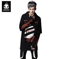 Genanx бренд черный с капюшоном Толстовка человек свободные длинные пуловеры Для мужчин мода толстовка пара поддельные из двух частей толстов
