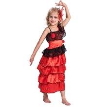 สเปน Senorita หญิงแห่งชาติชุดแฟนซี Childs Flamenco Dancer เครื่องแต่งกายเด็ก