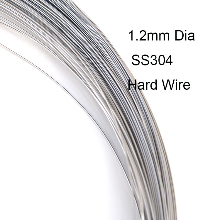 1 2mm Dia Hard Condition SS304 Stainless Steel Wire Industry DIY Material about 100 meters