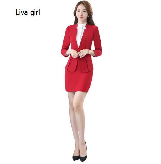 Brand Two Piece Set  Red Black  Office Uniform Designs Women Elegant Fashion Skirt Formal Suits Ladies Business Outfits Suit