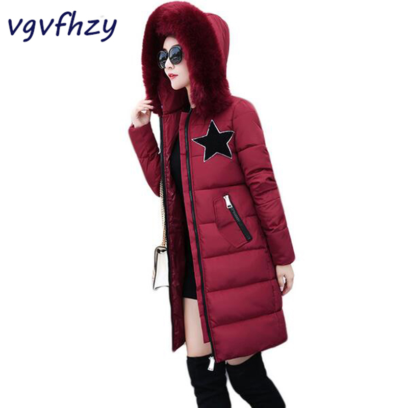 Winter Jacket Women 2017 New Parkas Fashion Slim Long Cotton-Padded Coat Warm Hooded Female thick Jacket Plus size Outerwear 2017 new winter coat for women slim black solid hooded long warm cotton parkas female thicker zipper red jacket padded