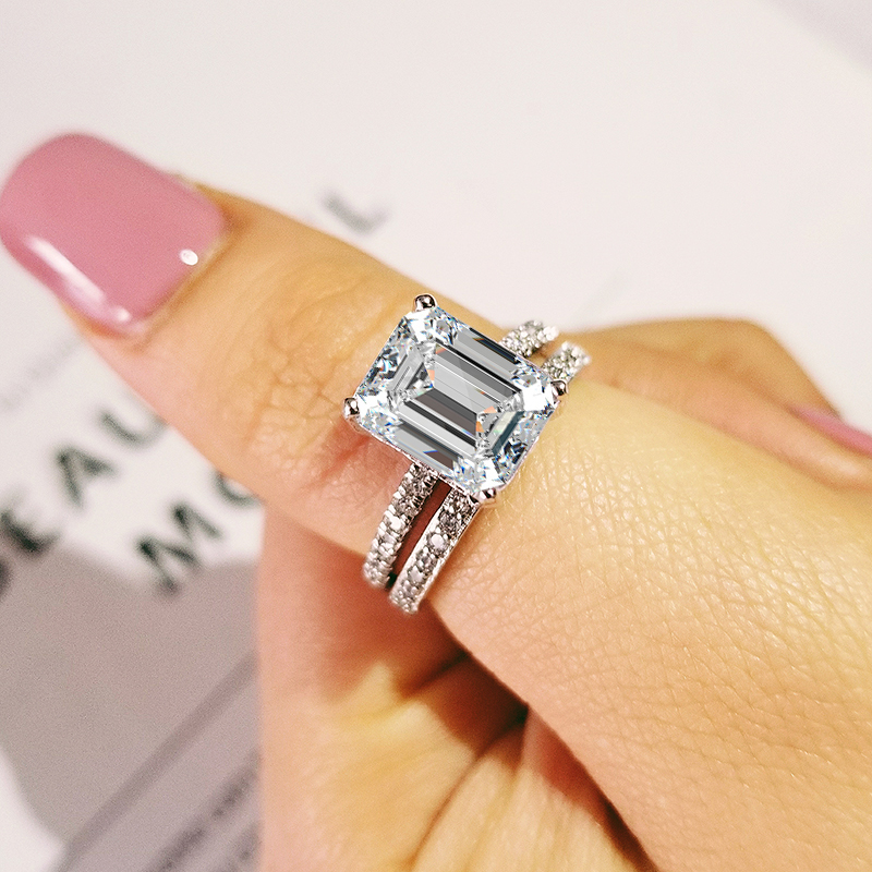 2020 New Trendy Heart Original 925 Sterling Silver Wedding Ring Set For Women Lady Anniversary Gift Jewelry Wholesale R5149