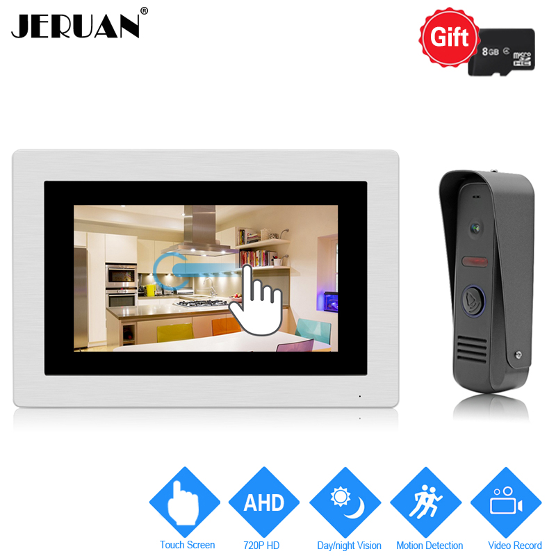JERUAN 720P Motion Detection 7`` Touch Screen Color Video Door Phone Intercom System Record Monitor +Waterproof Mini Camera jeruan home 7 video door phone intercom system kit rfid waterproof touch key password keypad camera remote control in stock