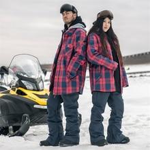 Doorek D'hiver Femmes Hommes Ski Veste Imperméable Coupe-Vent Chaud Ski Manteau Épaissir Respirant Snowboard Veste Outwear Rouge Grille