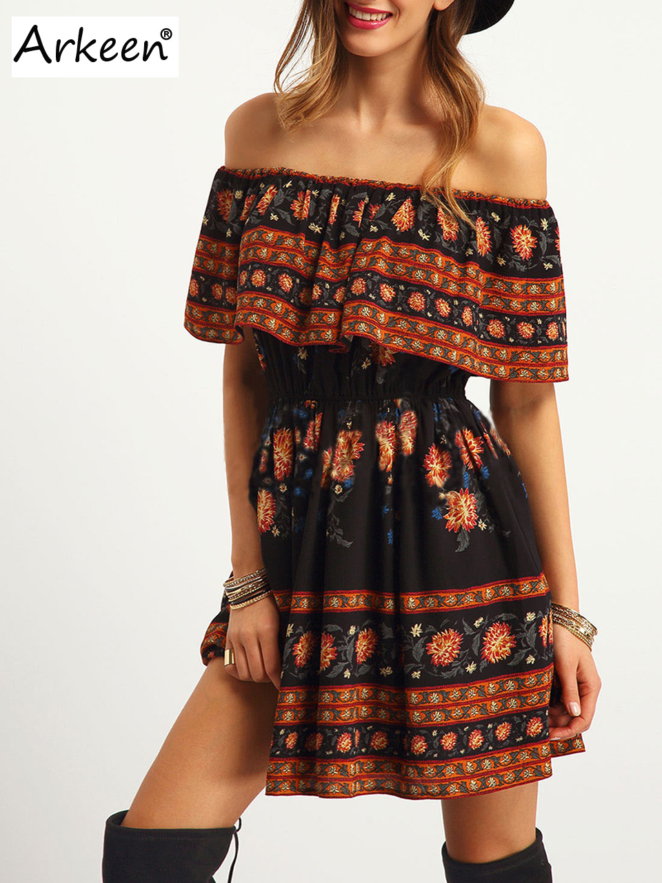 Elegant Bohemian Off Shoulder Mini Women Dress 20 Sexy Boho