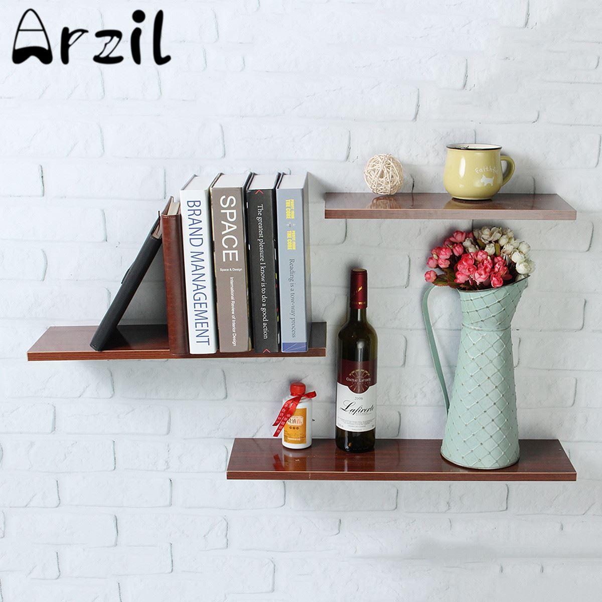 3 Teile/satz Holz Wandregal Bücherregal Vase Display Rack Halter ...