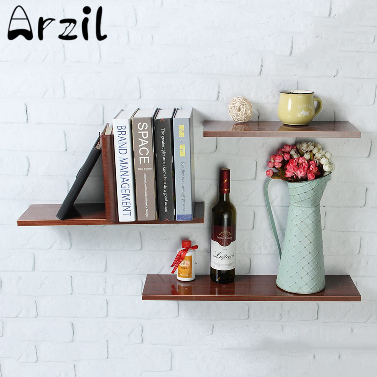 3pcsset Wood Wall Shelf Bookcase Vase Display Rack Holder Photo