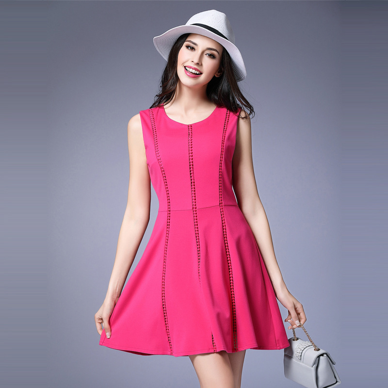 Large size loose sleeveless vest dress vestidos Knitted round neck stitching Rose Red dresses for women vestidos mujer L-5XL fashion women s sleeveless hooded shiny cotton vest red l