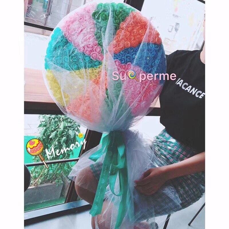 68*40cm*10cm Giant rainbow lollipop PE immortal flowers roses hold flowers Valentine's Day bouquet, Tanabata birthday gift - 2