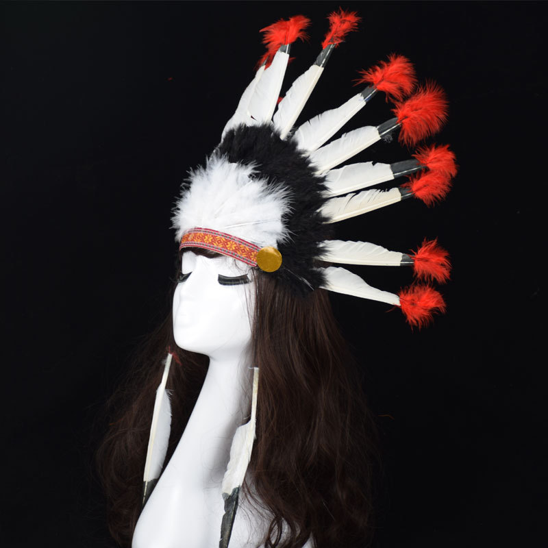 Halloween Carnival Day Indian Villus Chief Headdress Colorful Feather Party Hats Headband Caps Supplies Costume