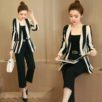New 2017 summer fashion striped one button blazer and knee length blazer suit pants women slim fit full suits trouser suit TXF1