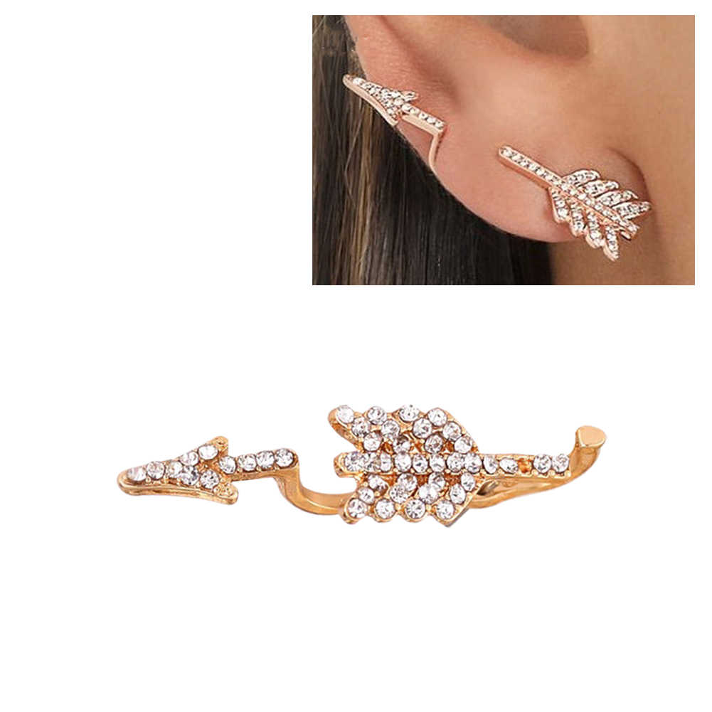 Cool Punk Lady Rhinestone Arrow Ear Jacket Stud Crawler Climber Earring Jewelry
