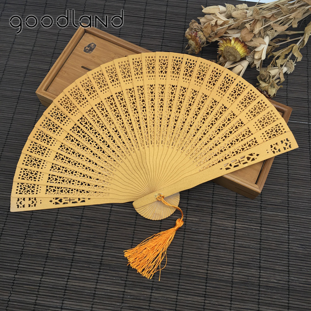 Free Shipping 100pcs with Gift Bag Sandalwood Folding Hollow Carved Dyed Hand Fan Wedding Accessories Decoration